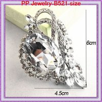 Wholesale Wholesale Bling Brooches - Very Beautiful Big Bling Bling Crystal Elegant Women Wedding Dress Pin Brooch B521 Bridal Wedding Bouquet