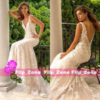 Wholesale Sexy Eve - Eve of Milady 2016 Mermaid Wedding Dresses with Spaghetti Straps V Neck Applique Beaded Full Lace Sexy Backless Chapel Train Bridal Gowns