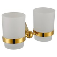 Wholesale Toothbrush Toothpaste Holder For Bathroom - Double Tumbler Holder Luxury Golden Bathroom Toothbrush and Toothpaste Holder with 304 Stainless Steel and Copper for Bathroom