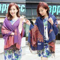 Wholesale Bohemian Cotton Scarf - New Fashion Trendy Bohemian Women's Long Print Scarf Wrap Ladies Shawl With Tassels Girl Large Pretty Scarf 10 Colors ZZ