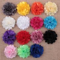 satin stoff stirnbänder großhandel-Baby Mädchen 5 cm Satin Mesh Tüll Stoff Blumen 15 farben Für DIY stirnbänder Weihnachten Headwear Haarnadel Haar Styling Zubehör AW06