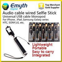 Wholesale Aluminum Clips For Wire - Audio cable Integrated Monopod wired Selfie Stick Extendable Handheld Wired Built-in Shutter and Clip for IOS iPhone Samsung Smart phone