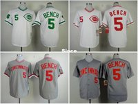 Wholesale Bench Shirts - 30 Teams- Retro Cincinnati Reds jersey #5 Johnny Bench throwback TB shirts gray white Embroidery and Sewing by m&n