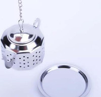 Wholesale Wholesale Infuser Teapots - NEW Tea Infuser 3.8CM Teapot shaped 304 Stainless Steel Herbal Pot Tea Infuser Strainers Filter 100pcs Tea Ball