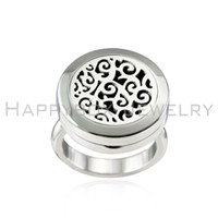 Wholesale Locket Rings Wholesale - Newest 20mm Round Aromatherapy fashion Essential Oil Diffuser locket ring, stainless steel magnetic floating locket pendant ring with pad