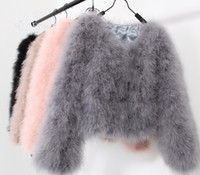 Wholesale Women Short Wool Jacket - 10 colors fashion sexy Ostrich wool turkey fur 2017 wool coat feather fur short jacket angelababy dongguan_wholesale in stock
