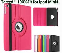 Wholesale Ipad Mini Rotary Case - For ipad mini4 mini 4 360 Degree Rolative Flip Smart Folio leather case Stand Holder Rolation cover Litchi Rotary cases 1pcs