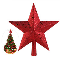 Wholesale Red Tree Topper - Wholesale- New Year NICEXMAS 9 inch Treasures Red Glittered Mini Star Christmas Tree Topper