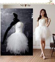 Wholesale Net Sheer Sleeve Dresses - Unique Design Elegant A Line Sweetheart Knee length Pearl Ruffles Lace-up Net Wedding Dress2015 Cheap Ivory Tulle Plus Size Wedding Dresses