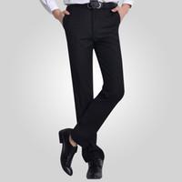 pantalones planos al por mayor-Venta al por mayor-verano sarga de algodón plano oficina trabajo desgaste caballero negro hombres pantalones de traje para hombre de negocios de carga pantalones vestido de boda de los hombres