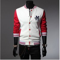 Wholesale Mens Fitted White Cardigan - Mens Fashion Slim Fit Casual Sport Stand Collar Baseball Long Sleeved Jacket
