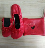 Wholesale Roll Up Shoes - 2016 hot sell Factory wholesale pink kidskin flat heel roll up ballerina shoes in bag