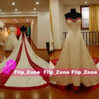 UK wedding dress sweetheart beading real - Real Photos Red and White 2015 Plus Size Wedding Dresses Sweetheart A-Line Cathedral Train 2016 Embroidery Beading Satin Bridal Ball Gowns
