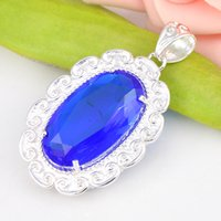 Wholesale Israel Necklace - Best Wholesle Price 9Pcs Handmade Fire Pure Oval Blue Topaz Crystal Gems 925 Sterling Silver USA Israel Wedding Engagement Pendants Weddings