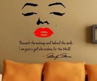 calcomanías de marilyn monroe al por mayor-Marilyn Monroe Tatuajes de pared arte desprendible decoración del hogar cita cara labios rojos grandes agradable pegatina envío gratis 100cmx90cm
