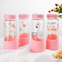 Wholesale glass bottles for drinks - Cartoon Water Bottles For Creative Design Flamingo Glass Cup Heat Resisting Portable Outdoor Drinking Tools 7 5sz2 C R