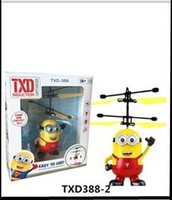 Wholesale Toy Helicopters Yellow Plastic - TXD Induction Flying Aircraft LED Toys RC Helicopter Despicable Me Minion Helicopter Quadcopter Drone Plane With Original packag 10PCS LOT