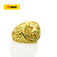 Venda por atacado - Hot Selling Gold Color Nickle grátis Exquisite Engrave Lion Head And Eagle Big Finger Jewelry Rings For Men And Women