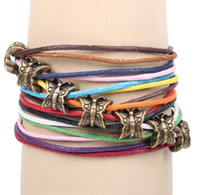 Wholesale China Traditional Girl - Colorful Multilayer Charm Bracelets Handmade Ancient Bronze Butterfly Beaded Bracelet Wrap Antique Women Girls Party Jewelry Accessories