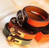 Wholesale Snake Leather Wholesale - Buckle Leather Bracelet Wholesale H Locomotive Bracelets Rotary Bangle Valentine Day Gift Charms Braided Wrist Jewelry-J138
