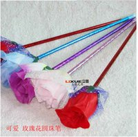 Wholesale Good Craft Flowers - Latest Colorful Flower Ball Pen Wedding Necessity Rose Plush Pen Craft Ballpoint Creative Stationery For Kids Good Bedroom Decoration