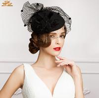 eski tüy gelin şapka toptan satış-Vintage Yeni Stil Siyah Renk Tül + Tüy Düğün Gelin Şapka Akşam / Parti Moda Headwears