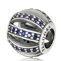 Wholesale European Cz Crystal Beads - Wholesale 925 Silver Beads Jewelry Blue Pave Cubic Zircon Openwork Charms CZ Crystal For diy European Chain Bracelets Bangles