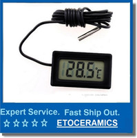 Wholesale digital temperature controller sensor resale online - Mini Thermometer small Digital LCD Combo Sensor Wired Aquarium Thermometer Freezer Thermometer C Controller GT black