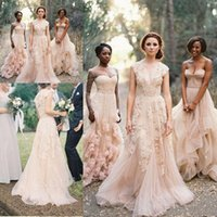 Wholesale Couture Lace Bridal Gowns - Charming Light Pink Appliques Wedding Dresses Deep V neck Tulle Vintage Bridal Gowns Free Shipping Elegant Sweep Train A Line Brenia Couture