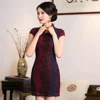 Wholesale Lace Cheong Sam - Free Shipping chinese qipao dress Chinese Cotton Cheong-sam Evening Dress Lace Cheongsam