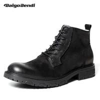 ingrosso stivali di stile militare-Mens stile britannico caldo peluche autentico Leathe Desert Boots Uomo d'affari nero Snow Ridding Boots Solider Boot Army Shoes