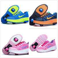 Wholesale Roller Skates Two Wheels - Spring Children's Sports Boys Girls Athletic Shoes Men Wheels Roller Skates Shoes Kids Shoes Child Sneakers Woman With One Two Wheels Pink