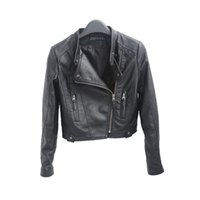Wholesale Leather Cropped Woman Biker Jacket - 2016 New HOT Fashion Black Women Short Faux Leather Zip-Up Cropped PU Leather Jacket, Biker Jacket
