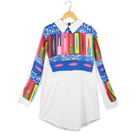 Wholesale Vintage Clothing Cheap China - New Fashion Women Long Shirt Vintage Retro Print Turn-Down Collar Long Sleeve Casual Blouse Top Cheap Clothes China White order<$18no track