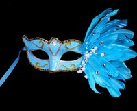 PVC blue colored gems - Colored drawing feather gem pearl mask Luxury women Halloween MARDI GRAS carnival Easter Christmas event party costume mask drop shipping