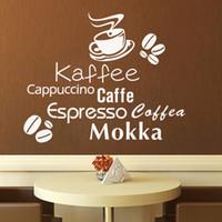 cozinha mural venda por atacado-Delicioso copo de café vinil citação removível adesivos de parede DIY home decor padaria loja de café da cozinha arte da parede MURAL