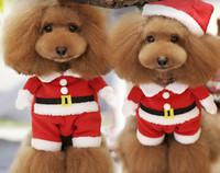 kırmızı kedi kostümleri toptan satış-Toptan-Kırmızı Kış Noel köpek giysileri Yavru Evcil Küçük Hayvanlar Için pc1344 Chihuahua Yorkshire Kedi XS S M L XL Kedi Kostümleri Malzemeleri
