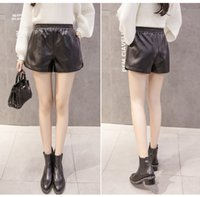 Wholesale mid waist shorts pu resale online - High Quality S XL PU Leather Shorts Women Black Short Pants With Pocket Loose Casual Elastic Waist Shorts