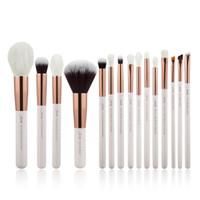 jessup escovas de maquiagem venda por atacado-Jessup Pérola Branco Maquiagem Profissional Brushes Set Compõem Kit de Ferramentas Pincel Fundação Em Pó Natural Cabelo Sintético