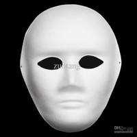 ingrosso maschera di protezione completa-Full Face Thin Plain White Masks Partito Ambientale Paper Pulp Blank FAI DA TE Fine Art Pittura non verniciata Masquerade Mask 30pcs / lot