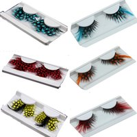 Wholesale Colorful False Feather Lashes - 40 Kinds Colorful Beauty Feather False Eyelashes Eyes Makeup Feather eyelashes for party red dots stage exaggeration