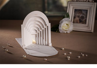 """Wholesale 3d Bride Groom Invitation - DHL 3D White """"bride and groom love in the castle"""" Two-fold Wedding Invitations Cards100PCS Customizable Blank pages"""