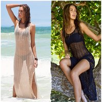 Wholesale New Womens Sexy Mesh Hollow Net Beach Dress Sleeveless Swimsuit Bikini Swimwear Beach Cover Ups