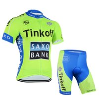 Wholesale Saxo Bank Bicycle Short - 2015 TINKOFF SAXO BANK TEAM FLUO S075 Short Sleeve Cycling Jersey Bike Bicycle Wear + Shorts Size XS-4XL