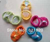 Wholesale Crochet Baby Summer Barefoot Sandals - Crochet wool bow sandals. Loafers. Barefoot sandals. Hand-woven, newborn cheap  baby wear
