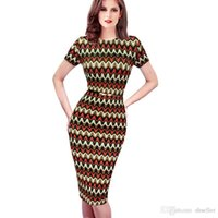 Wholesale Colorblock Dresses Sale - New 2015 Sale Womens Summer Colorblock Zig Zag Belted Stretch Tunic Wear To Work Casual Cocktail Party Bodycon Pencil Dress 625 A5
