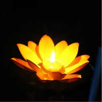 Wholesale blessing mix - New Styles Artificial EVA High Quality Lotus Candle Lamp Floating Water Blessing Lights For Christmas Wedding Holiday Party Decoration Mix