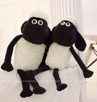 Wholesale Big Toy Goat - Year Of Goat For Mascot Stuffed Toys Black White Sheep Plush Toys Big Eyes Sheep Stuffed Animals Two Size For 25CM 32CM 15Pcs Lot K296