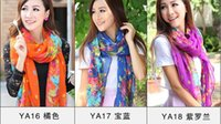 Wholesale Ponchos Shawls Wholesale Stock - 15Styles plus size 180*110 cm New Women's Fashion Georgette Long Wrap Shawl Beach voile Scarf Scarves Fashion Accessories IN STOCK 06 B