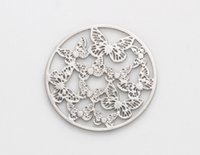 Wholesale Windows Float - 20PCS lot 22MM Silver Butterfly Round Hollow Floating Window Plates Fit For 30mm Magnetic Glass Memory Locket